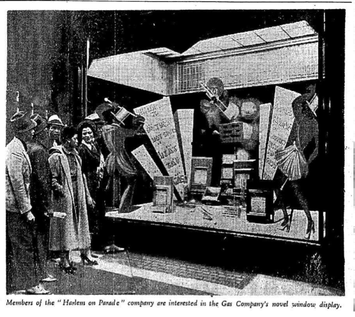 "Members of the ""Harlem on Parade"" company are interested in the Gas Company's novel window display, (Saturday Herald, 4 September 1937). (Source: Irish News Archive). Female figures left to right: Lucille Middleton and Naomi Waller, closest to the window. Male figures possibly include Frankie Manning, Billy Williams and Jerome, but the image is insufficiently clear to confirm."