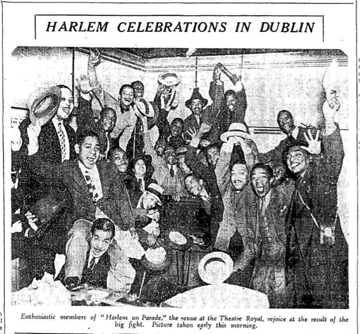 "'Harlem celebrations in Dublin: Enthusiastic members of the ""Harlem on Parade"" cast who are appearing at the Theatre Royal, rejoice at the result of the big fight. Picture taken early this morning' (Evening Herald, Tuesday 31 August 1937). (Source: Irish News Archive)."