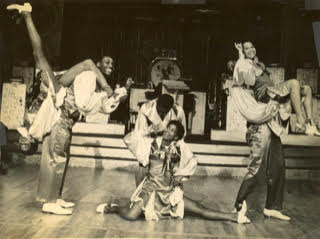 "Whyte's Hopping Maniacs performing with ""Le Cotton Club de New York"" at the Moulin Rouge in Paris, summer 1937.(left to right) Naomi Waller and Frankie Manning, Lucille Middleton and Jerome Williams, Mildred Cruse and Billy Williams."