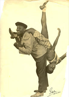Lucille Middleton and Frankie Manning doing drop-down-the-back while on tour with Hollywood Hotel Revue in New Zealand, summer 1938.Photo credit: Steele